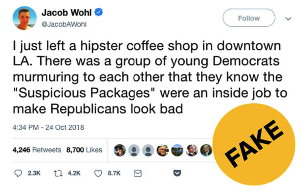 A writer for a far-right website known for spreading falsehoods  tried to claim pipe bombs sent to liberals were the rest of a conspiracy to frame conservatives . In reality,  the man who sent the bombs was a Trump supporter .