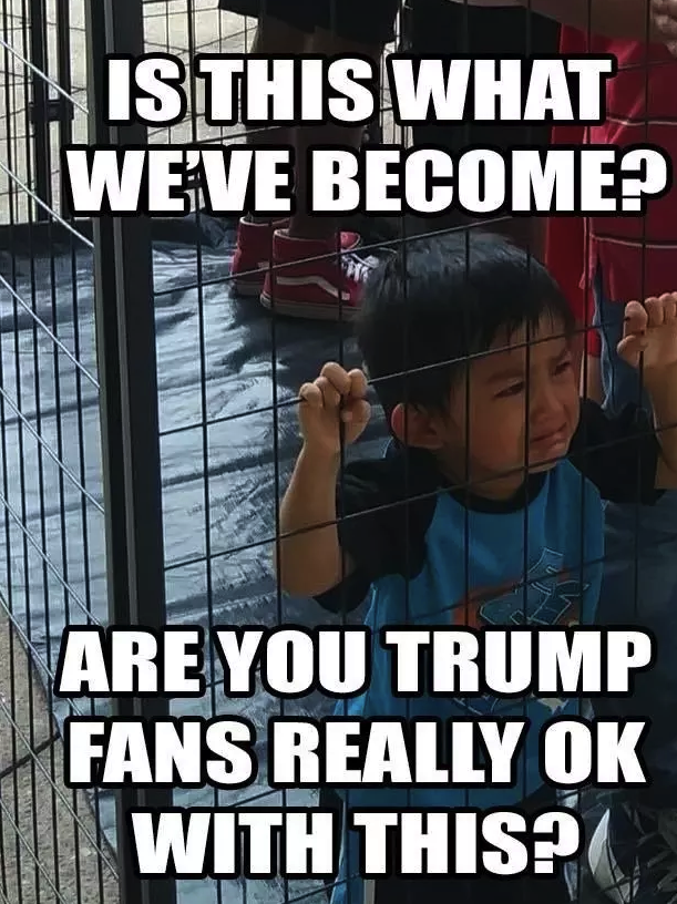 This image of a child in a cage is from a protest,  not a detention center.
