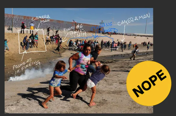 This image of a mom and her kids fleeing tear gas  was used as fuel for false online conspiracies. -  The photo, taken by Reuters photographer Kim Kyung-Hoon, shows Maria Meza from Honduras,  who told BuzzFeed News in an interview  that she wanted to protect her children.