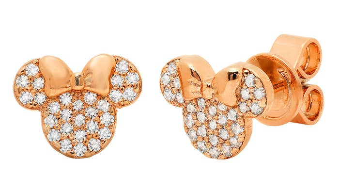 6fa4eeb62 Rose-gold Minnie Mouse earrings, a must-have for any Disney fan heading to  the Parks this year (or just wanting to add a lil' magic to their jewelry).