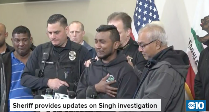 Reggie Singh thanked law enforcement officers during a news conference