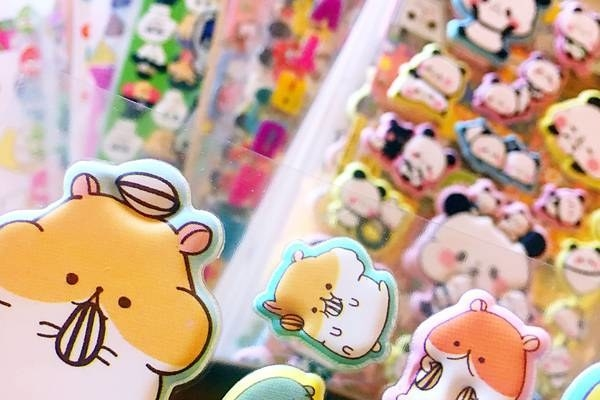 Close-up of puffy hamster-themed stickers