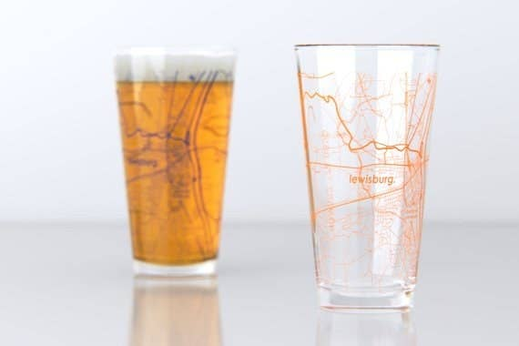 I went to Bucknell University in Lewisburg, PA (RAY BUCKNELL!!!), but you can customize the glass to be your college town or city! Get it from The Uncommon Green on Etsy for $29.50.
