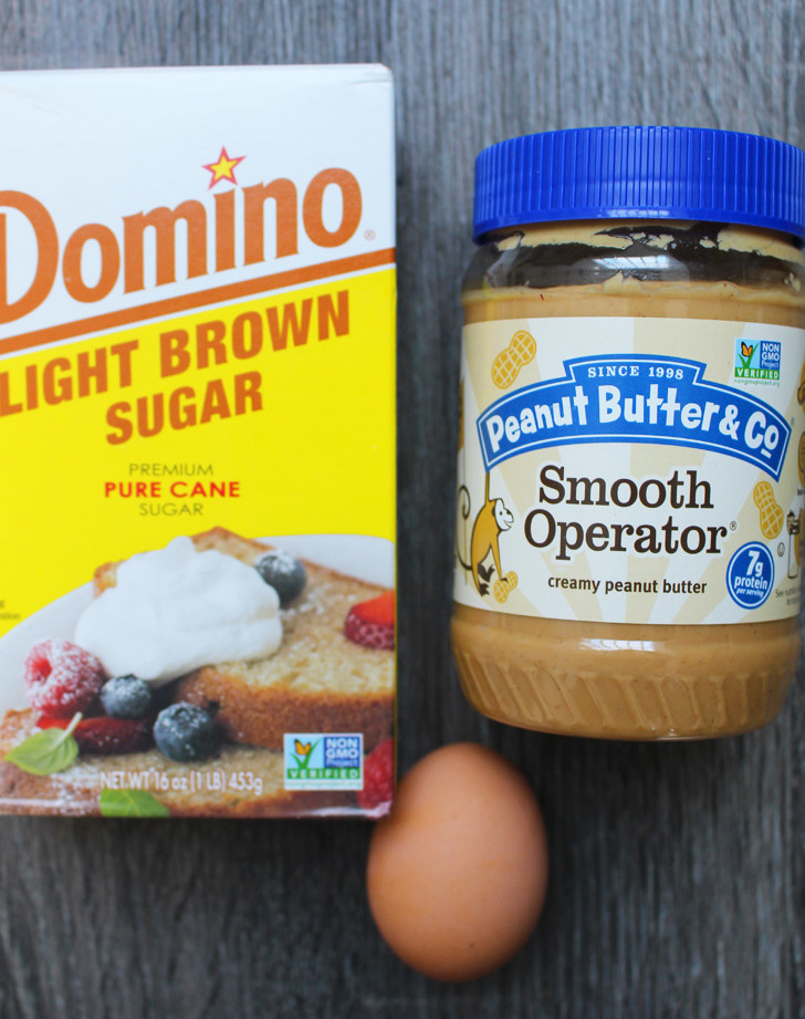 Like the vast majority of mankind, I'm a peanut butter lover, so anything made with a jar of PB sounds like a win in my book.What you'll need: Creamy peanut butter, one egg, and brown sugar.