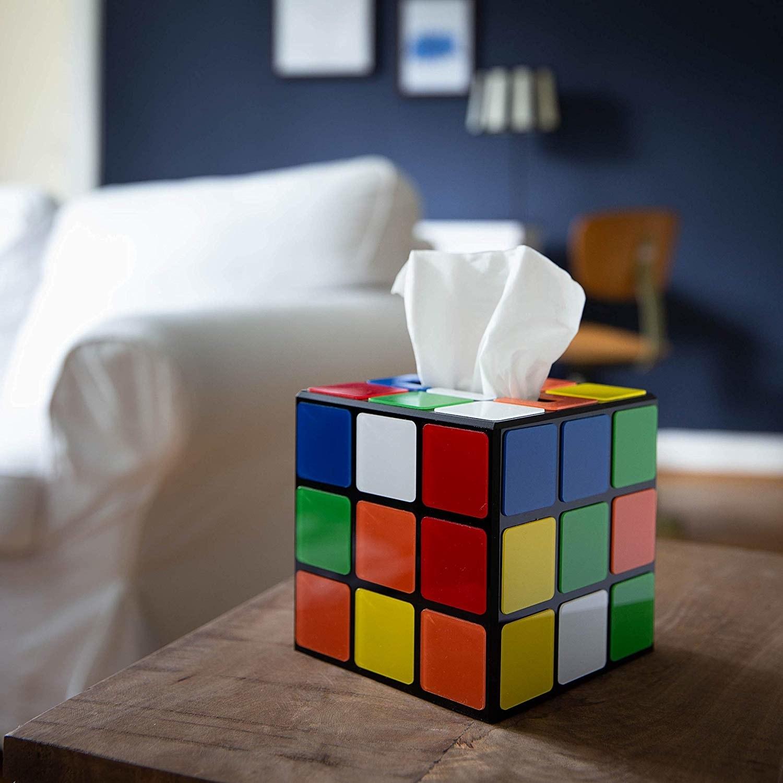 the tissue box that looks like a Rubik's cube