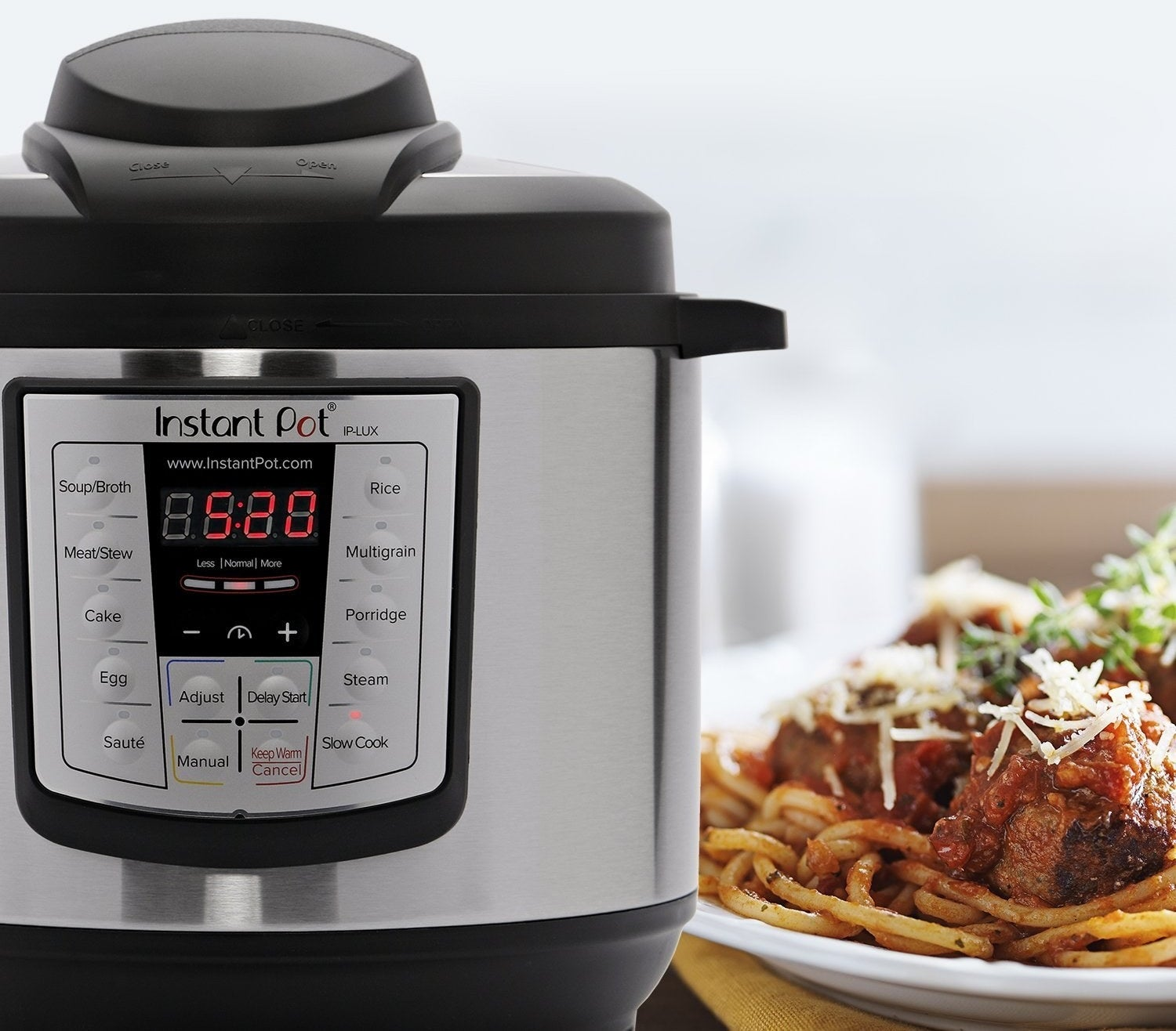 """Combines six kitchen appliances in one — pressure cooker, slow cooker, rice cooker, sauté, steamer, and warmer. It can prepare food up to 70% faster. It can keep food warm automatically for up to 10 hours, and there are three temperatures for sauté and slow-cook. The inner cooking pot, lid, and steam-rack are dishwasher-safe!Promising review: """"This is probably the only kitchen appliance I've ever bought that has earned permanent status on my kitchen counter. I use it at least three times a week. It's particularly perfect for vegans and WFPB-eaters. I can cook beans and grains from scratch in no time! Such a wonderful investment. I liked it so much that I got one for each of my sisters for the holidays. Best. Thing. Ever."""" —cynthia w. rogersGet it from Amazon for $59.95+ (available in two sizes).And while you're at it, you're gonna want this cookbook filled with 100+ Instant Pot recipes. Get it from Amazon for $9.33."""