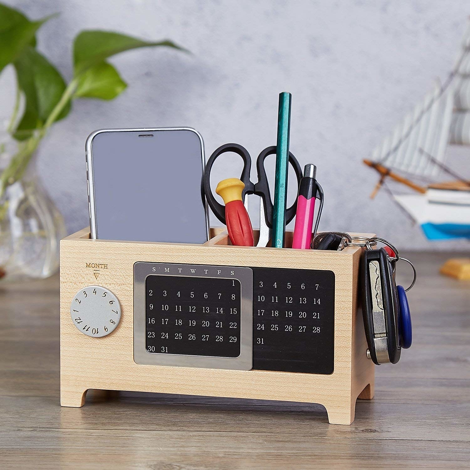 Pen holder in use on table