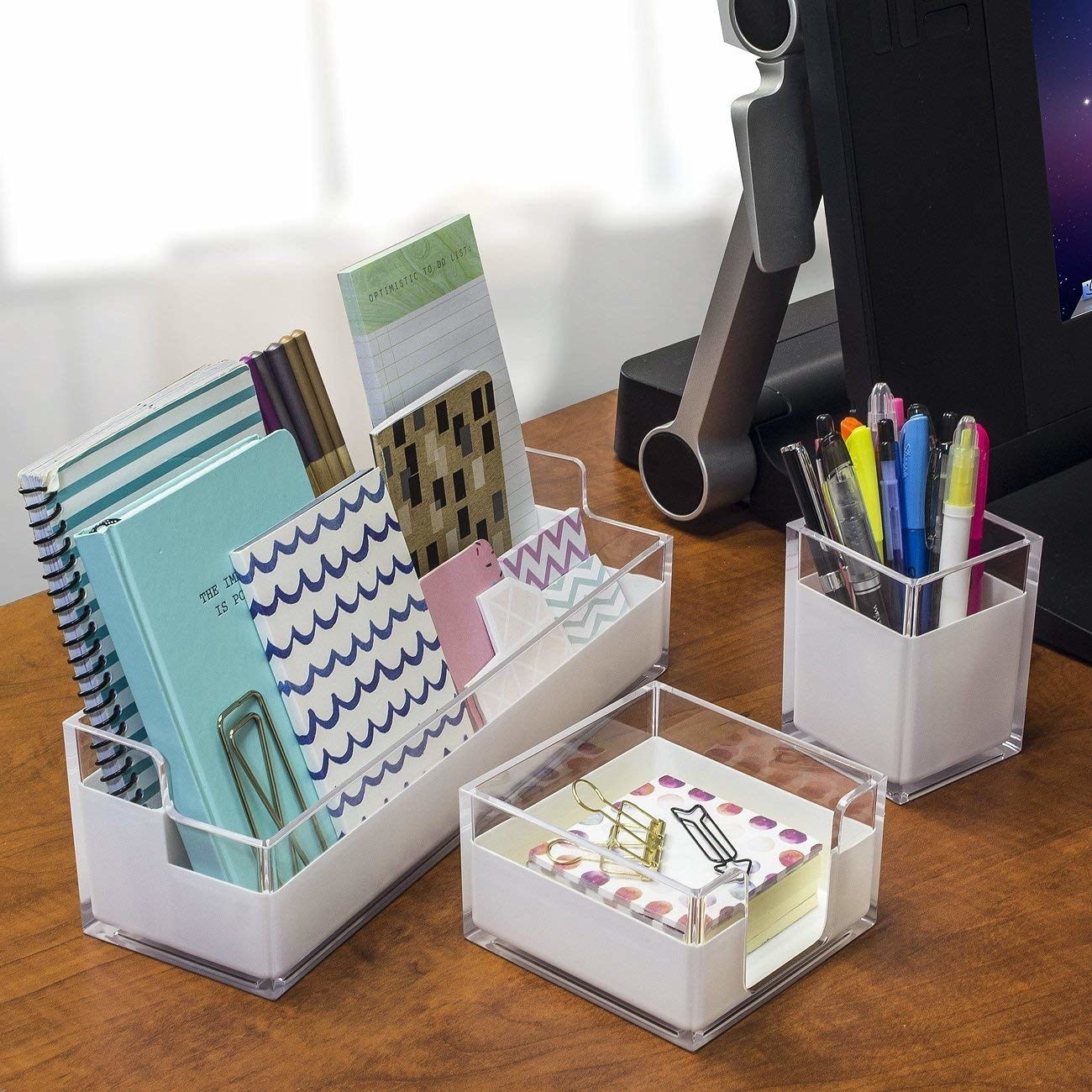 Acrylic organizers on desk