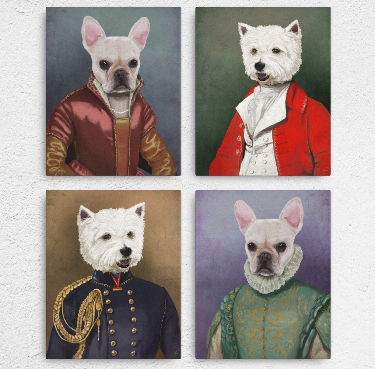 four portraits  of dogs in fancy victorian attire