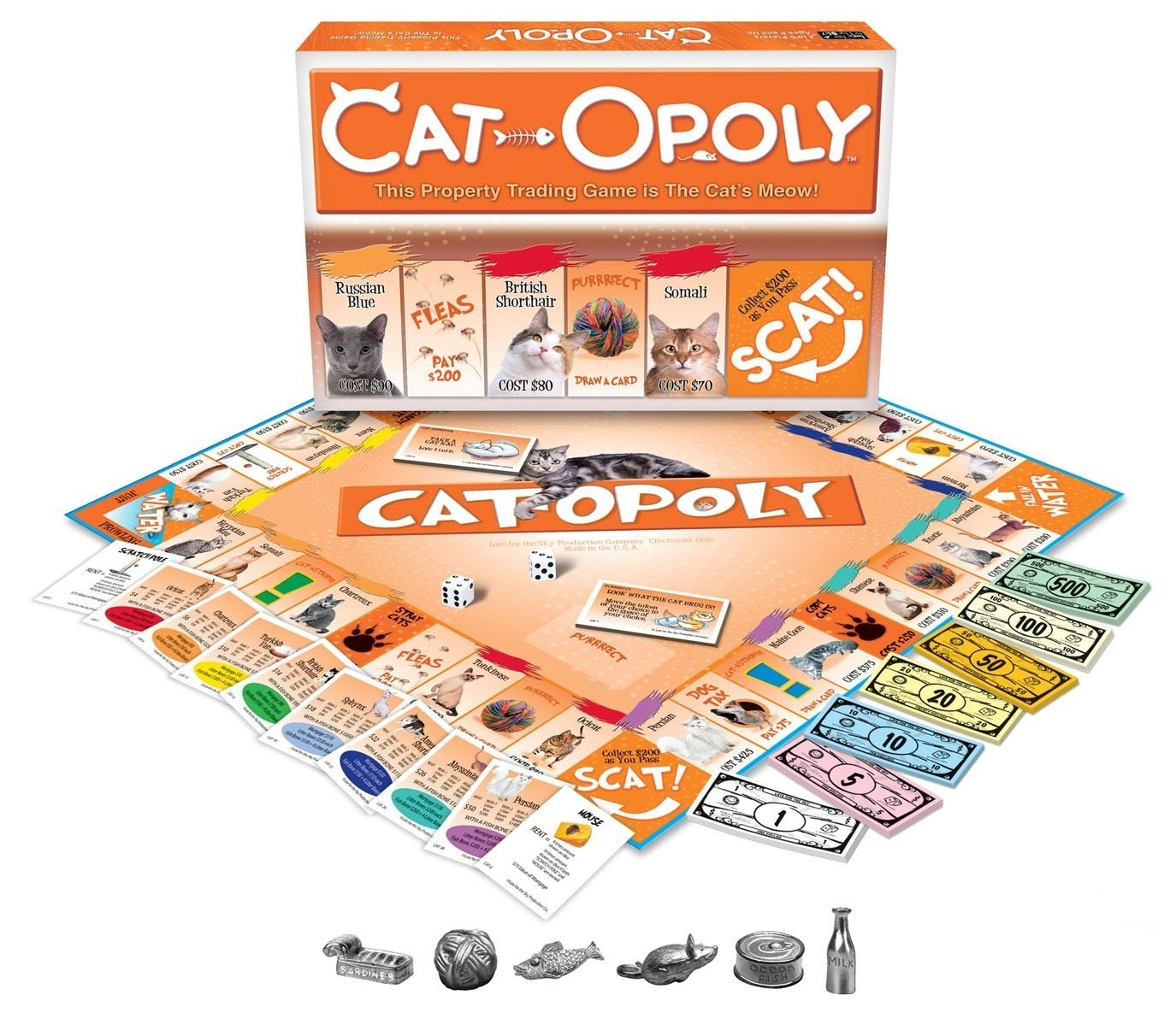 cat themed monopoly with cat locations and cat-related charms