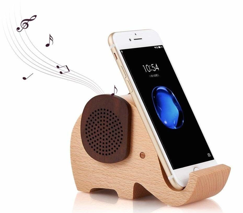 Elephant phone holder in use on white backgroundMod