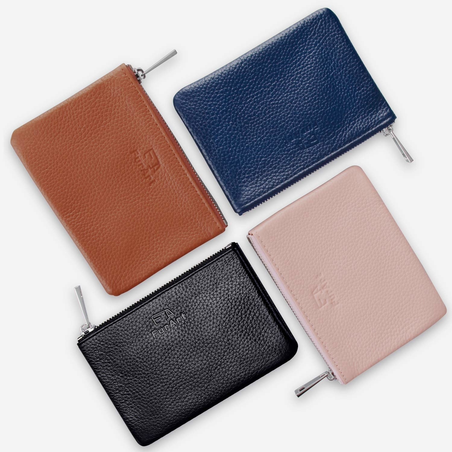 the leather coin purses in black camel blush pink and navy