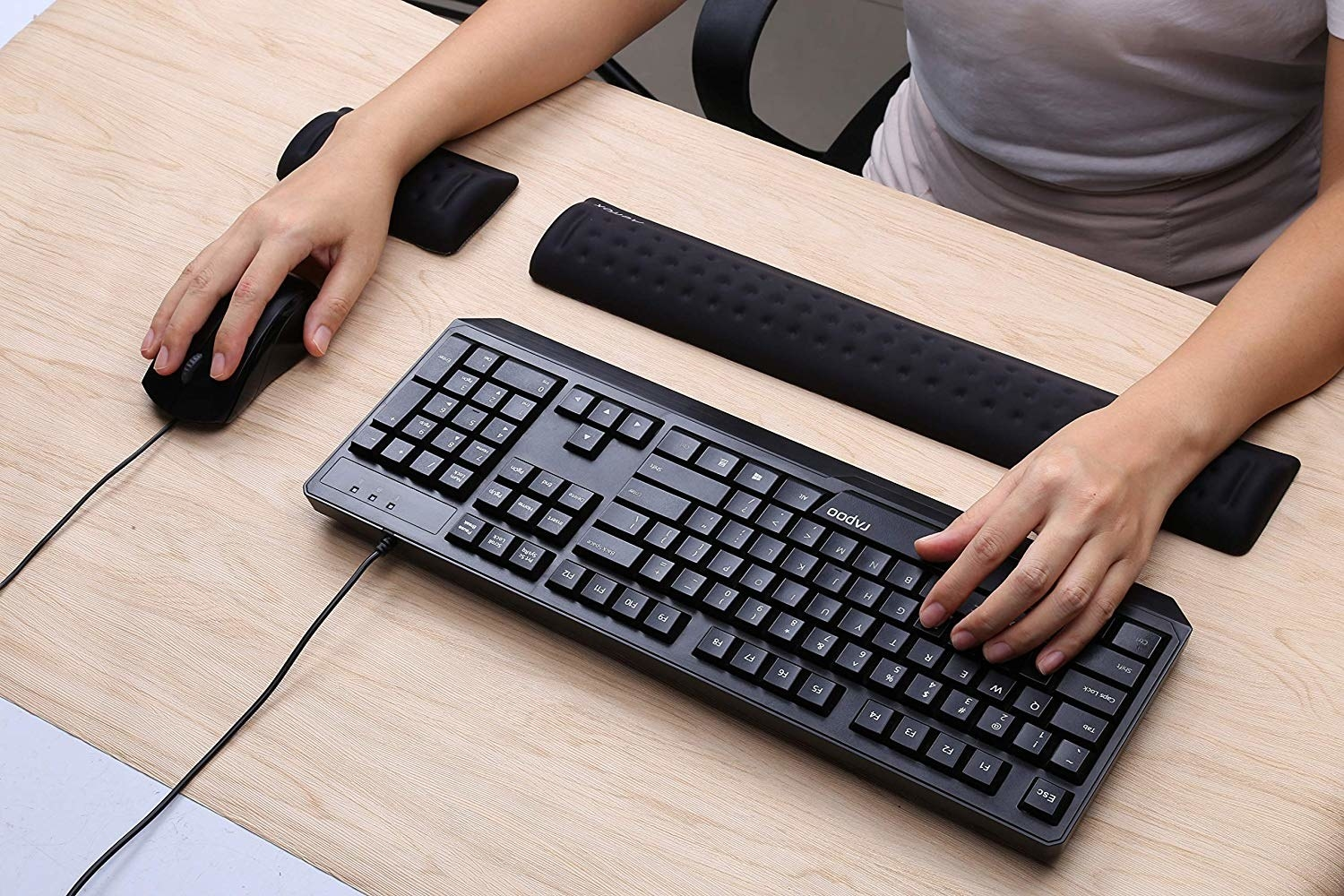 "Promising review: ""Not much more I can say that others haven't, but this is probably one of the best investments I've made in my physical health. By that I mean not ending every day with wrist pain. The pieces are super comfortable and raise my hands on the keyboard and mouse perfectly. The material is very soft and smooth."" —Alex DGet a two-piece set from Amazon for $20.99."