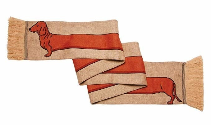 scarf with dachshund that stretches the whole length of the scarf