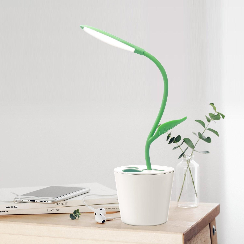 Desk lamp on table