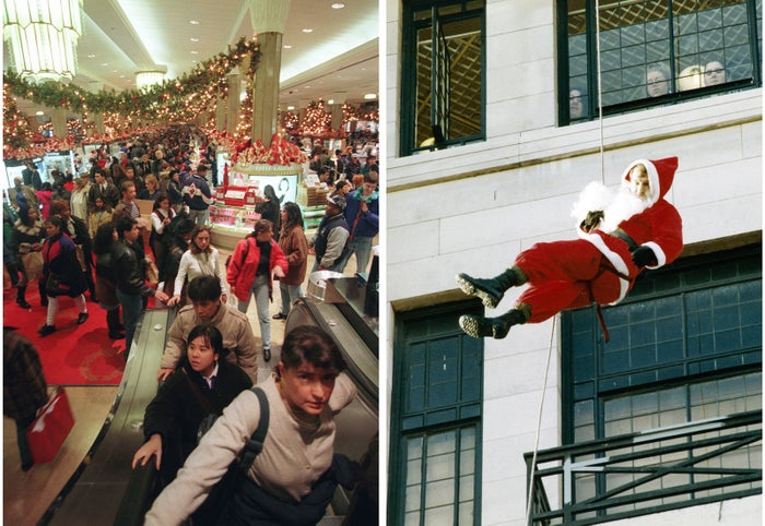 Left: Holiday shoppers crowd a Macy's in New York City on Nov. 24, 1995. Right: Santa Claus has his beard stuck on a rope as he tries to repel down the side of a store in Glasgow on Nov. 18, 1992.