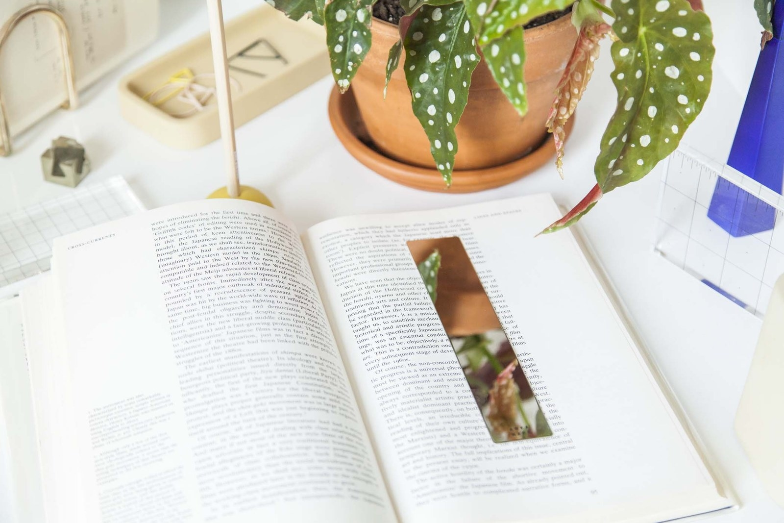 open book with the bookmark on a page