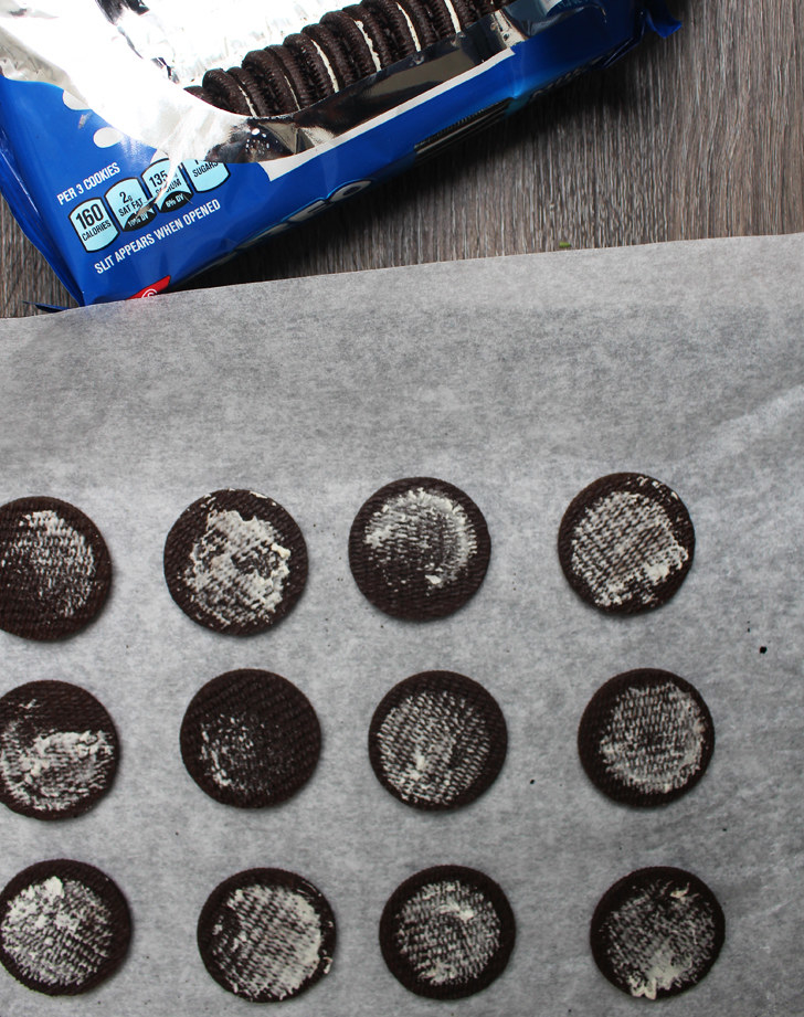 The process:  While a bit time consuming, these cookies were easy as 1,2,3 (see what I did there?). Separate the Oreos and scrape off the cream, then melt the chocolate and add the peppermint extract, then dip the cookies one by one into the melted chocolate.