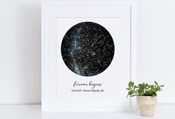 "A constellation print that reads ""forever began"" with a date and a location"