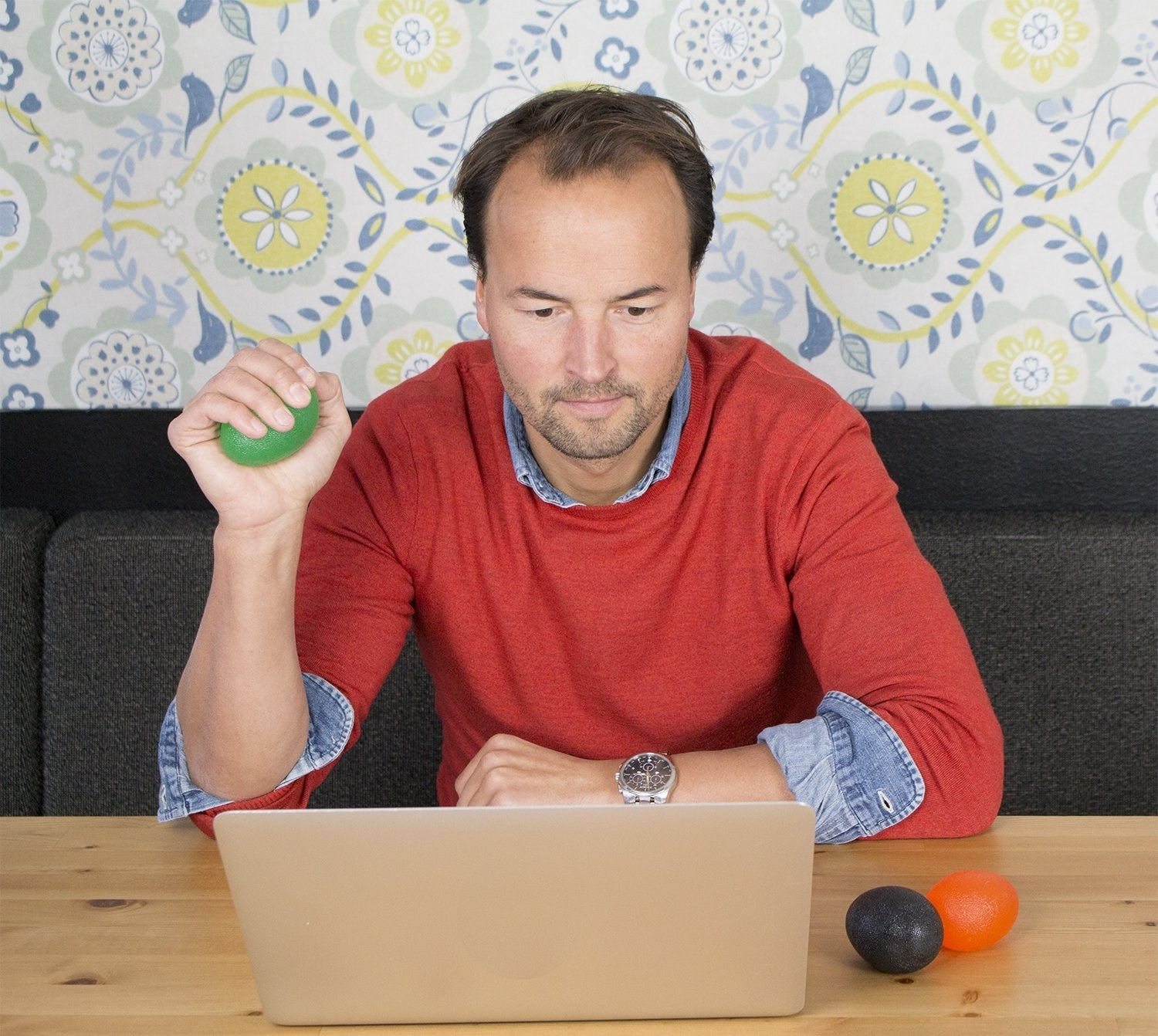 "Promising review: ""I work at a desk about 11–12 hours a day with TONS of typing. Since using these, I've noticed less pain and strain in my wrists and hands, and they are also a great stress reliever. I've got people at my office hooked. I really like the yellow and red one, but I have smaller, weaker hands so I'm working my way up to the firmest blue one. In terms of the size, I also think they're perfect. Pretty much what I expected, I think they're totally worth the price."" —Petite LoebGet a three-pack from Amazon for $9.99+ (available in three sizes)."