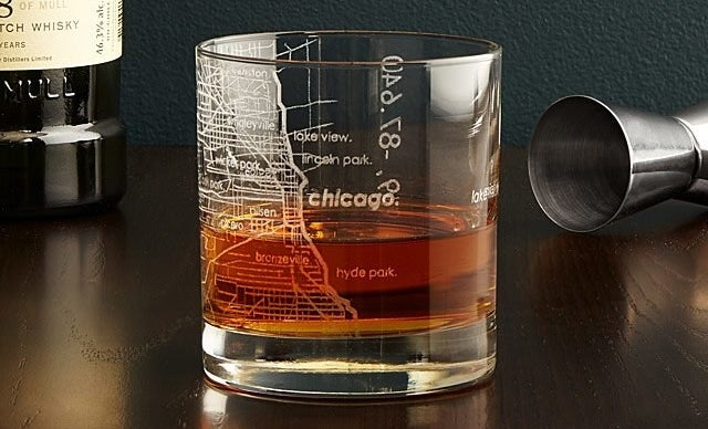 The whiskey glass with the Chicago design on it