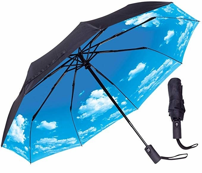 black umbrella with blue sky print on the inside when you open it