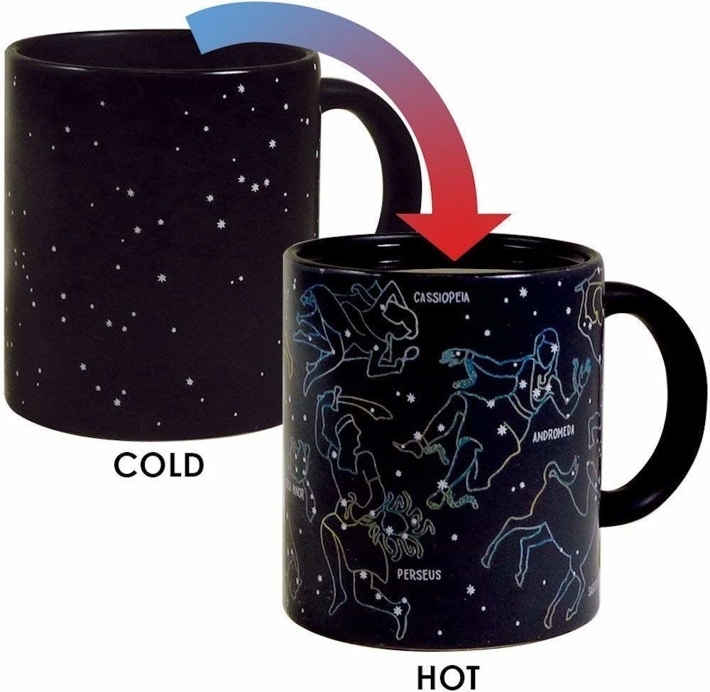 A picture showing how the empty mug is black with stars on it, and when it's filled with a hot liquid, constellations show up