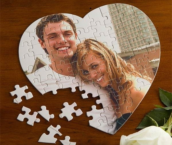 The heart puzzle with a picture of a couple on it