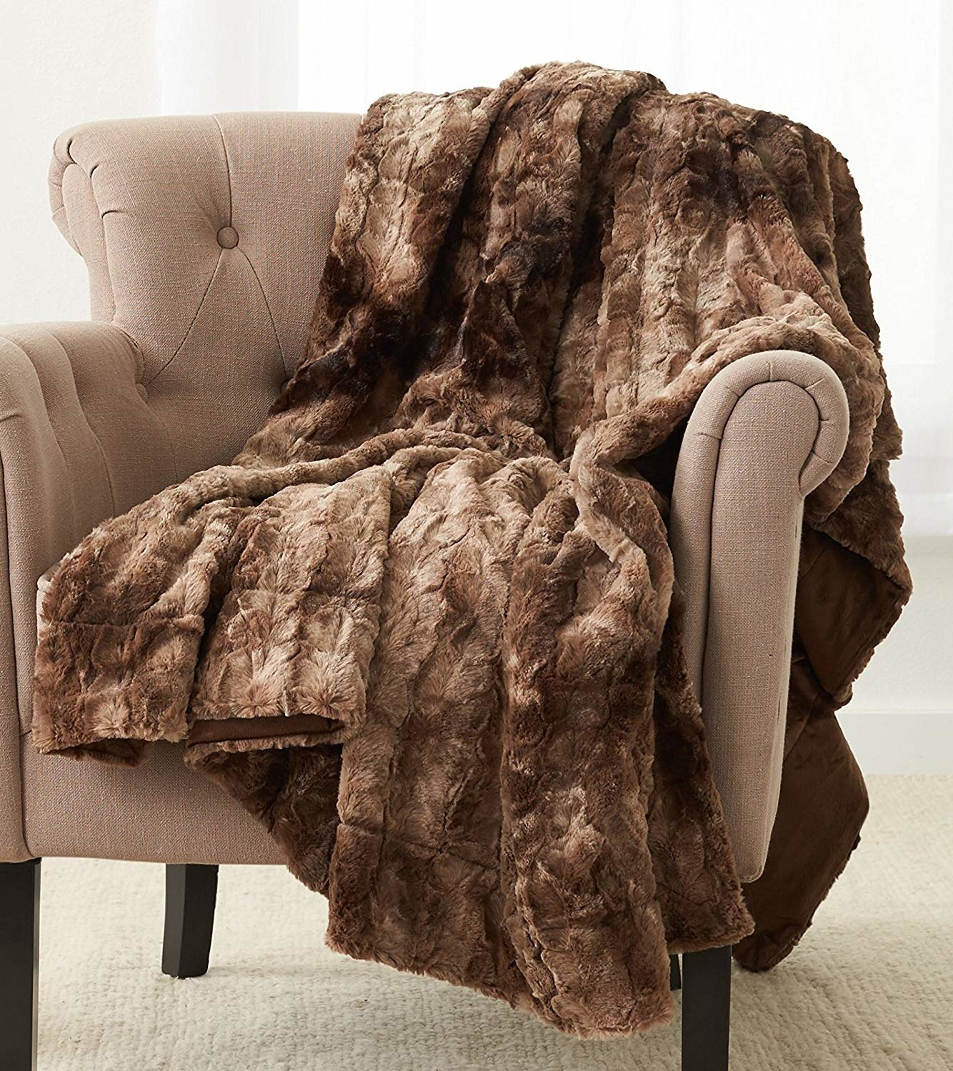 faux fur blanket thrown over a chair