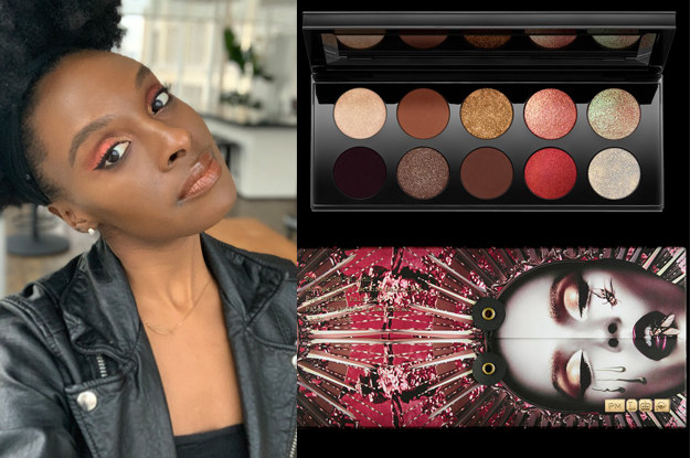 A person wearing bright and shimmery eyeshadow and an image of the eyeshadow palette they used