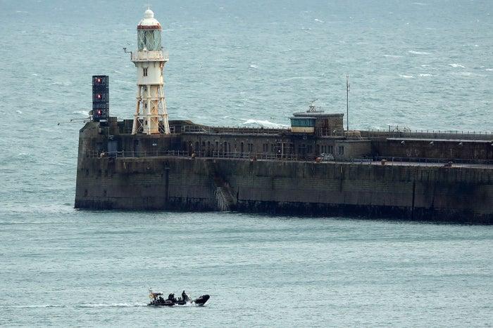 UK Border Force boats patrol Dover Harbour.