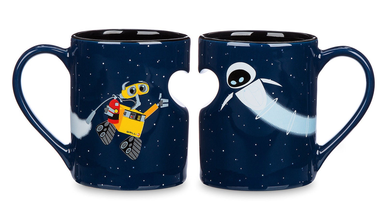 two mugs next to each other with half heart chunks removed from both
