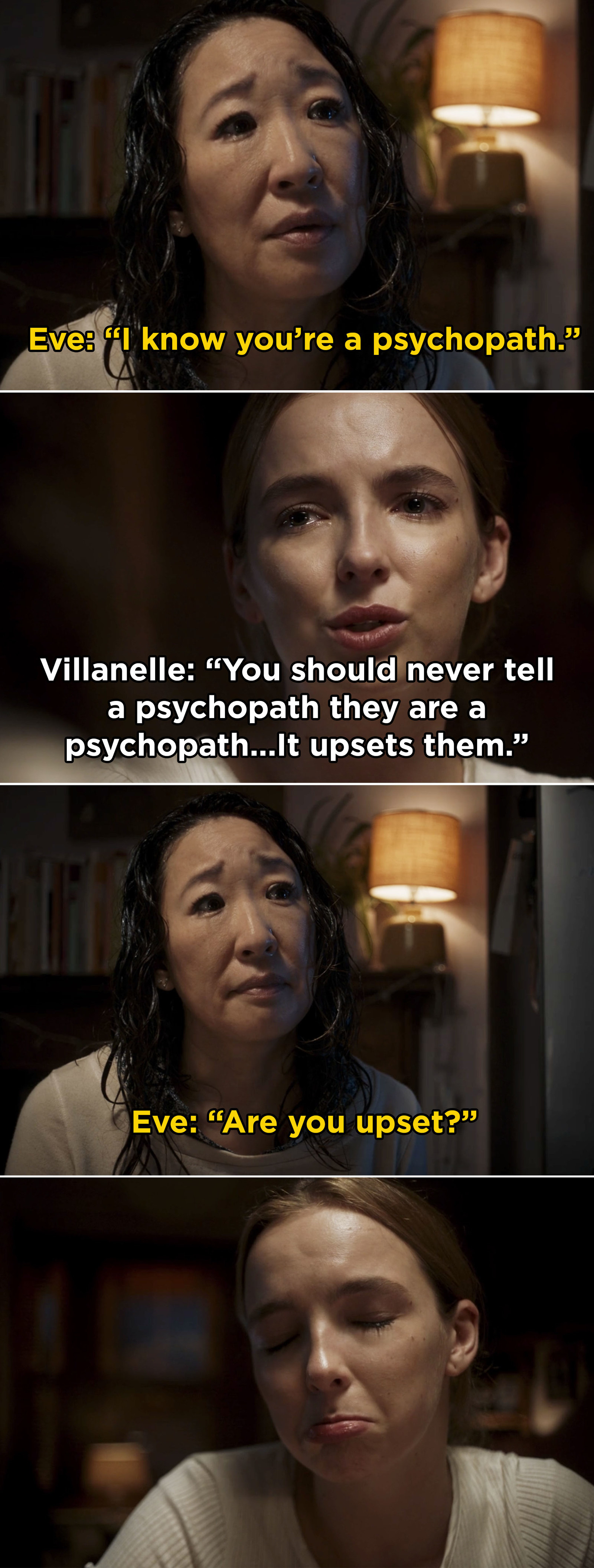 First, Sandra Oh and Jodie Comer gifted us with our favorite new pairing when they brought Eve and Villanelle's complicated dynamic to life in  Killing Eve . -  From Villanelle's iconic pink dress to Eve telling Villanelle that she thinks about her constantly, Sandra Oh and Jodie Comer gave us some iconic TV moments this year.