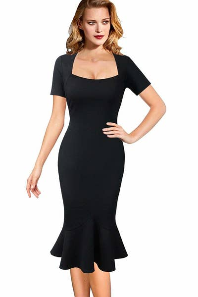 478cf653 A mermaid dress available in both a sweetheart- and high-neck style. BUT  DON'T WORRY! They all stop mid-calf and fit like a glove. Amazon ...