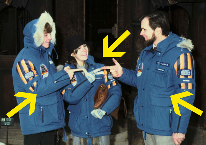 This is Mark Hamill, Carrie Fisher, and producer Gary Kurtz sporting the jackets on set back in 1979.