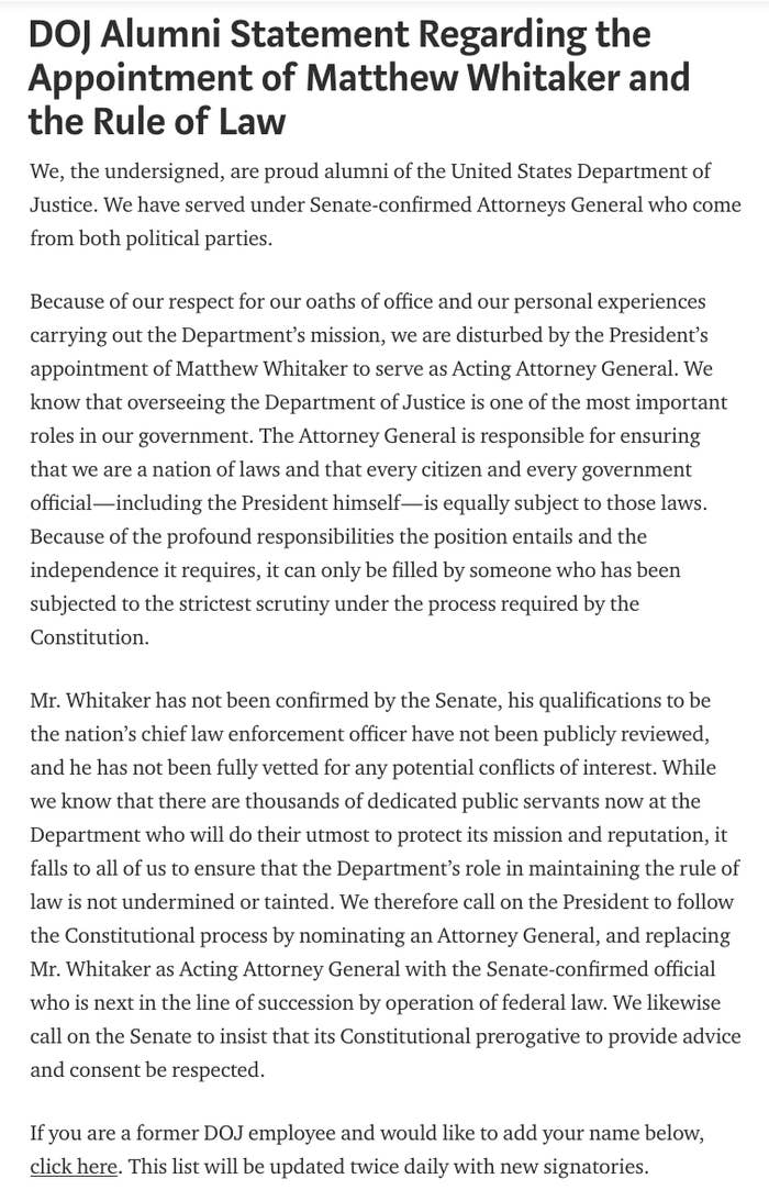The statement signed by 421 Justice Department alumni as of Dec. 4, 2018.