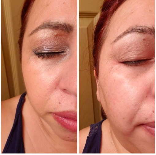 a reviewer using the product to remove makeup