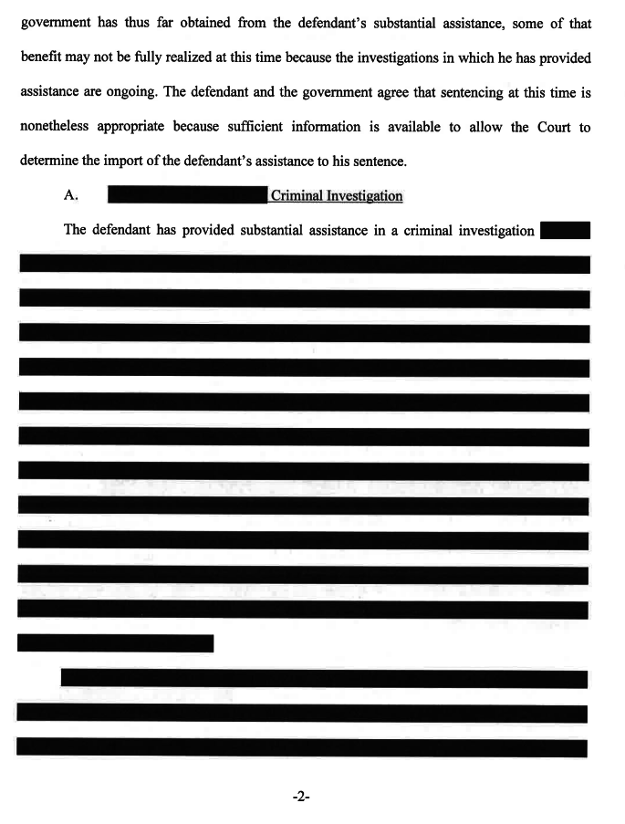 Page in the sentencing memo filed by special counsel Robert Mueller's office for Michael Flynn.