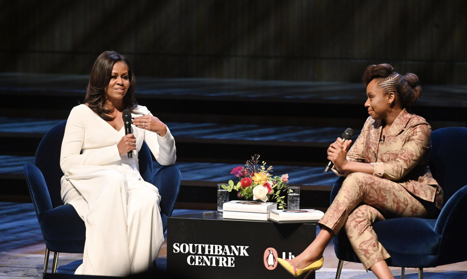 Michelle Obama (left) and Chimamanda Ngozi Adichie at the Southbank Centre for the UK stop of Obama's book tour.