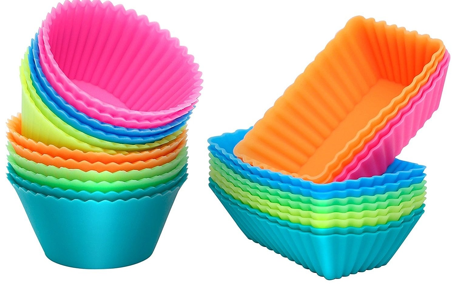 Includes 12 rectangular silicone baking cups and 12 round silicone baking cups. They're BPA-free and FDA-approved and safe in temperatures between -40 to 446 degrees F. They're safe to use in the oven, refrigerator, freezer, microwave, steamer, and dishwasher. They're also flexible, non-stick (no greasing or cooking spray needed!), don't require muffin trays — just pop onto a baking sheet), and re-usable!.Get them from Walmart for $11.97 (originally $47.99).