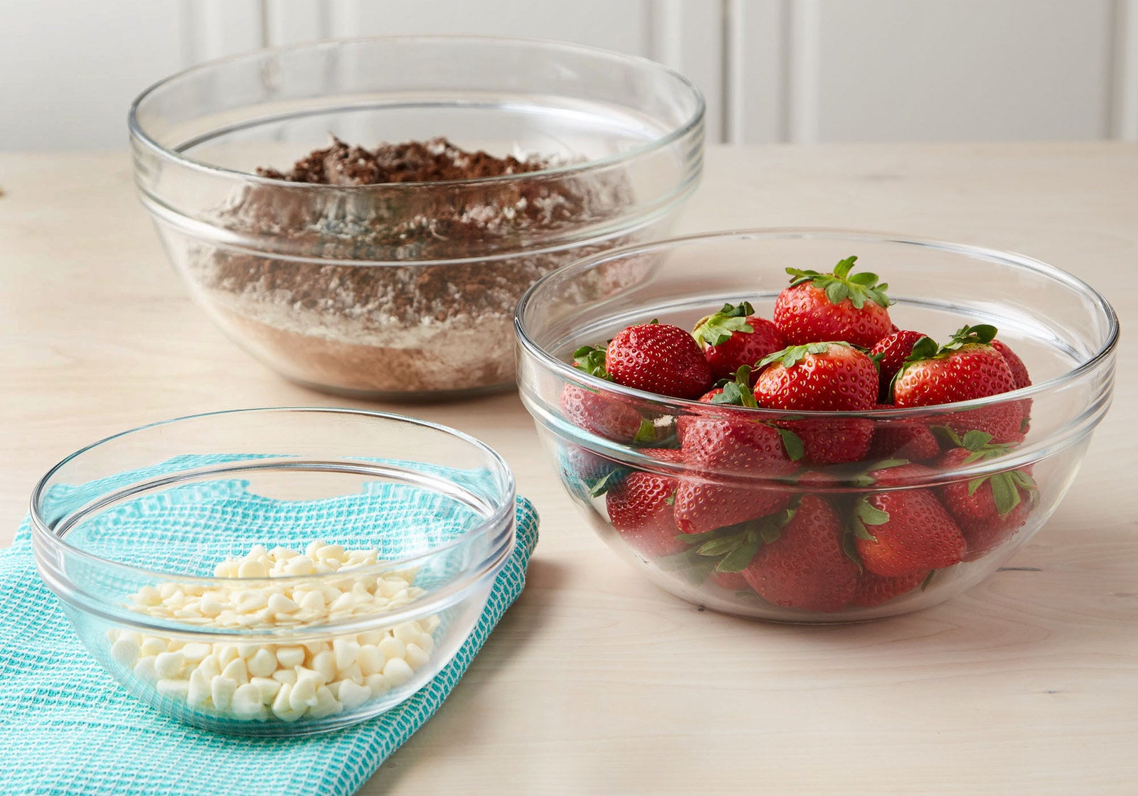 Includes one 1.2 qt. mixing bowl, one 3 qt. mixing bowl, and one 4.5 qt. mixing bowl. The bowls are made from tempered glass, are nested and stackable, and are also microwave-, freezer-, and dishwasher-safe. Get it from BuzzFeed's Tasty line, exclusively at Walmart for $17.44.