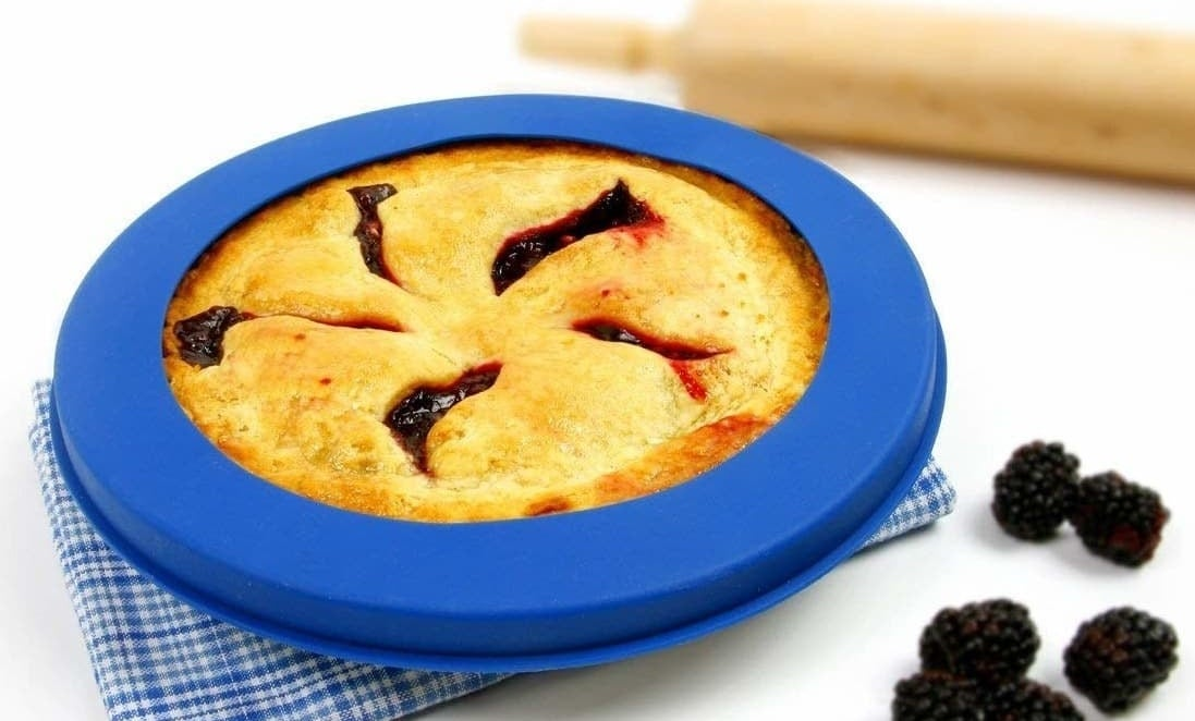 """Fits up to a 10"""" pie pan. Get it from Walmart for $6.94 (originally $9.95)."""