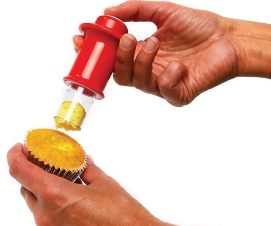 Includes one small corer, one large corer, and one ejector. Just inset the corer, twist, and remove the cupcake core!Get it from Walmart for $7.35.