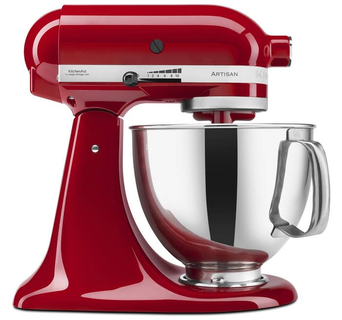 Bowl has a 5 qt. capacity — up to four loaves of bread or nine dozen cookies. The mixer itself has 10 speeds. It includes the beater, the dough hook, and wire whip.Get it from Walmart for $253.88+ (available in 12 colors), or Jet for $379.99 (available in three colors).