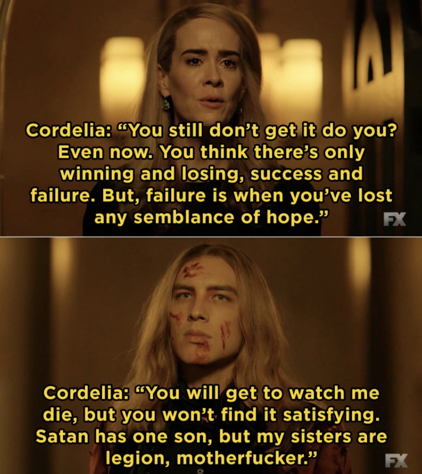 Also in  AHS: Apocalypse , Michael Langdon and Cordelia came face-to-face as one fought to end the world while the other tried to save it.