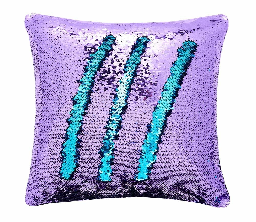 purple sequin pillow with blue on reverse