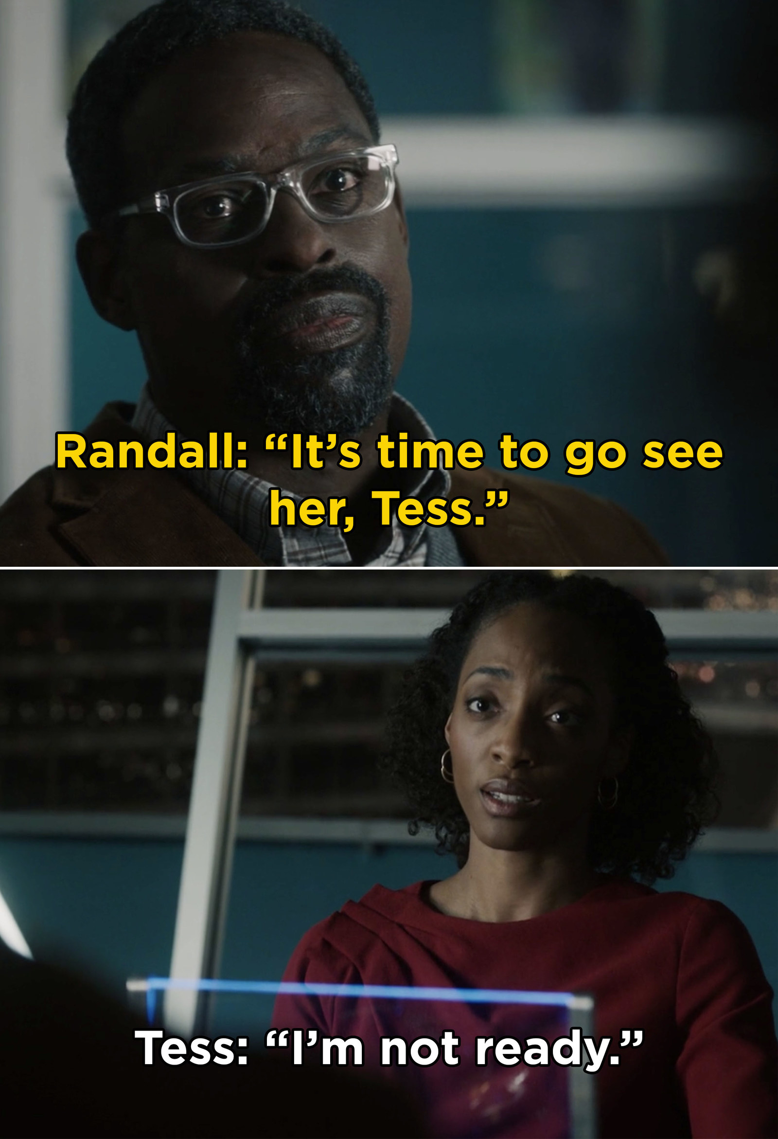 """This Is Us  also surprised us when the show jumped forward in time to reveal an older Tess, Randall, and a mysterious """"her"""" that they were going to visit."""