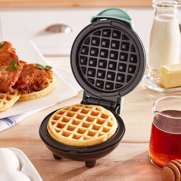 The mini waffle maker in blue