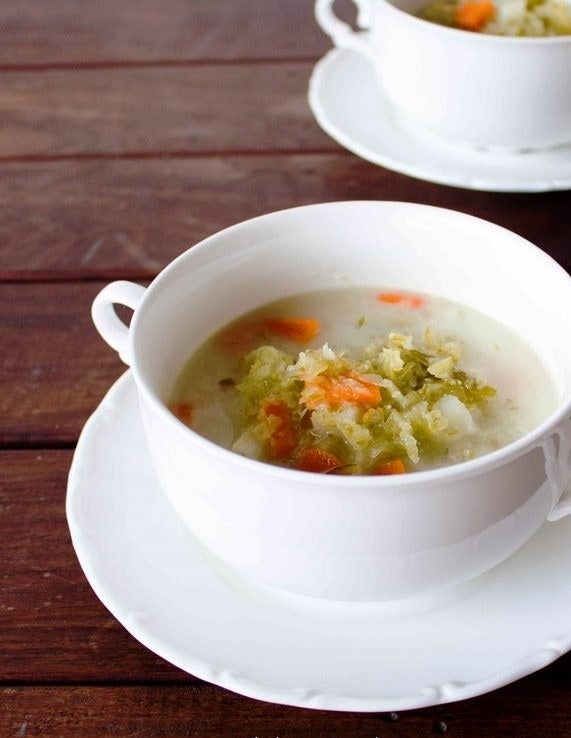 """""""It's a Polish pickle soup made of pork stock with shredded veggies. I make a big pot every winter."""" — brittnim4"""