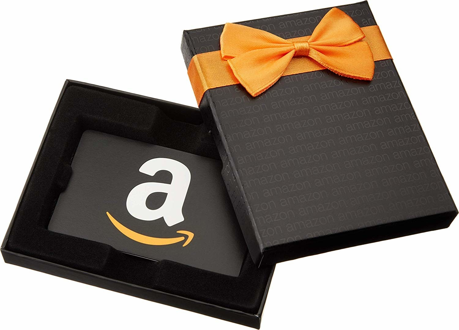 A gift card in a box with a bow